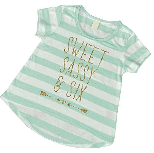 Girl 6th Birthday Shirt, Sassy Sweet and Six Shirt, Sixth Birthday Tshirt (6T)