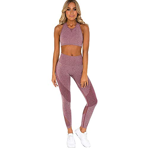 ROSUN Women's High Waisted Yoga Leggings Suits with Sports Bra Stretch Clothing Sets Gym Sets Pink