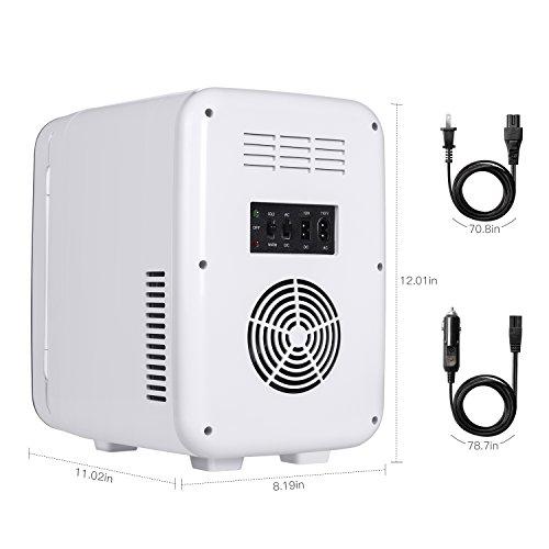 POTEK Mini Fridge Electric Cooler and Warmer (6 Liter / 6 Can) :AC 110V/ DC 12V Portable Thermoelectric System,For Car /Indoor /Outdoor (Silver Grey) by POTEK (Image #1)