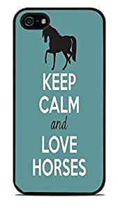Keep Calm and Love Horses Black Silicone Case for iPhone 5 / 5S