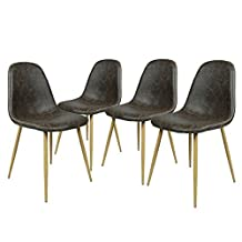 Homycasa Set of 4 Eames Style Fabric Stable Chairs with Metal Legs Kitchen Dining Room Chairs (Vantage B)