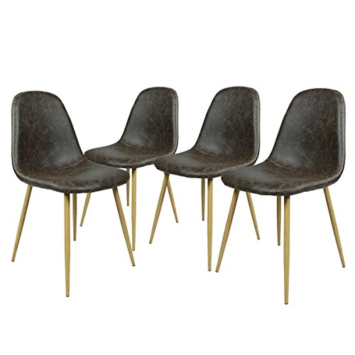 [Homycasa Set of 4 Eames Style Fabric Stable Chairs with Metal Legs Kitchen Dining Room Chairs (Vantage B)] (Eames Fabric)