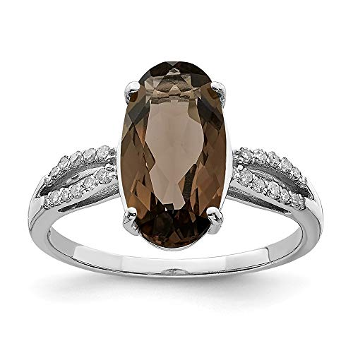 925 Sterling Silver Oval Diamond Smoky Quartz Band Ring Size 7.00 Gemstone Fine Jewelry Gifts For Women For Her ()