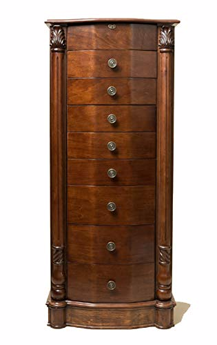 "Hives and Honey 2417-654 Henry IV Jewelry Armoire, 39.75"" H x 17.25"" W x 11.6"" D, Walnut"