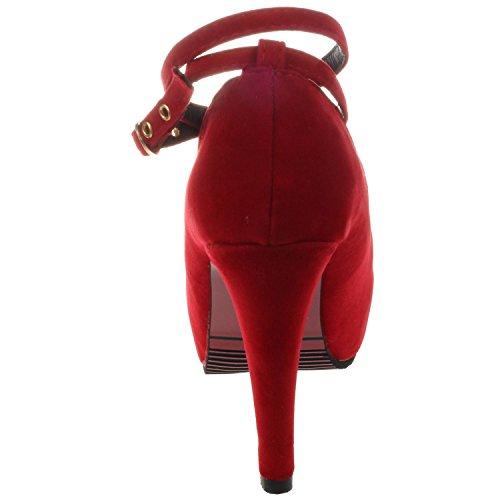 SODIAL(R) Neue hochhackige Schuhe Frau Pumps Hochzeit Schuhe Plattform Mode Frauen Schuhe hohe Absaetze 11cm Wildleder schwarz US4 = EUR35 = Laenge 22.5CM Rot