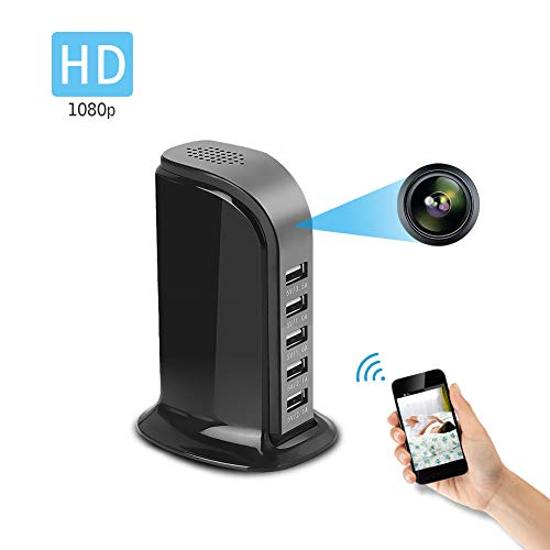 Spy Camera Wireless Hidden WiFi Camera with Remote Viewing, 5 USB Ports with 1080P HD Nanny Cam/Security Camera Indoor Video Recorder Motion Activated, Support iOS/Android, No Audio