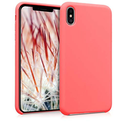 kwmobile TPU Silicone Case for Apple iPhone Xs Max - Soft Flexible Rubber Protective Cover - Neon Coral