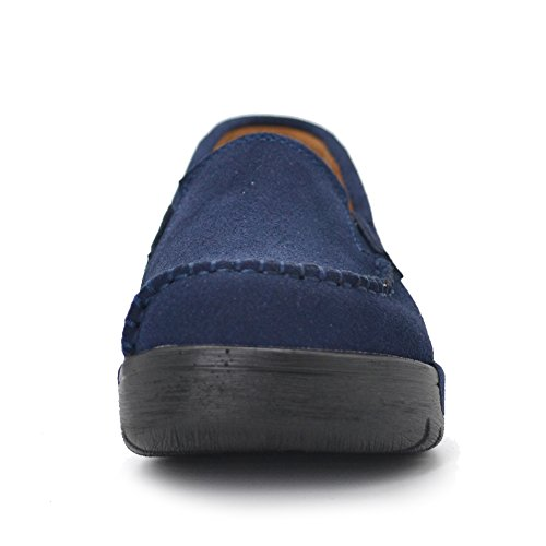 Slip Comfort Work Toe Women Shoes Blue Suede On STQ Moccasin Navy Platform Loafers Round Wedge SwqXd