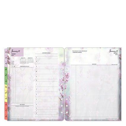 Franklin Covey Monarch Blooms Ring-bound Daily Day Planner - Jan 2016 - Dec 2016