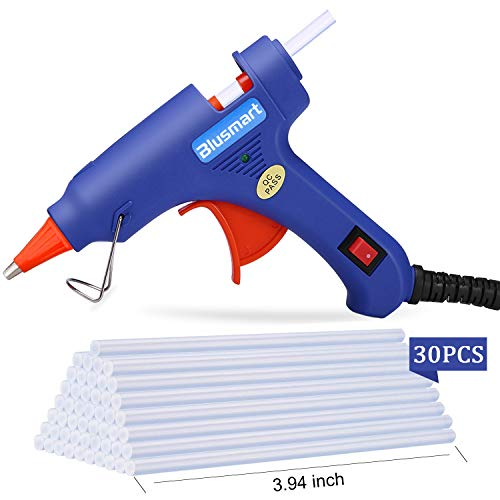Hot Glue Gun, Blusmart Upgraded Mini Glue Gun with 30pcs Melt Glue Sticks, 20 Watt High Temperature Glue Gun for DIY Crafts, Projects, Fast Home Repairs & Creative Arts, Blue (Best Hot Glue Gun Sticks)