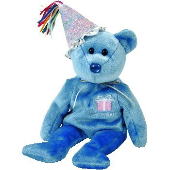 September Birthday / Sapphire Birthstone Beanie Baby Bear with Party Hat