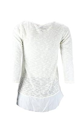 Miss Chievous Ivory Marled-Knit Chiffon Hem Sweater M
