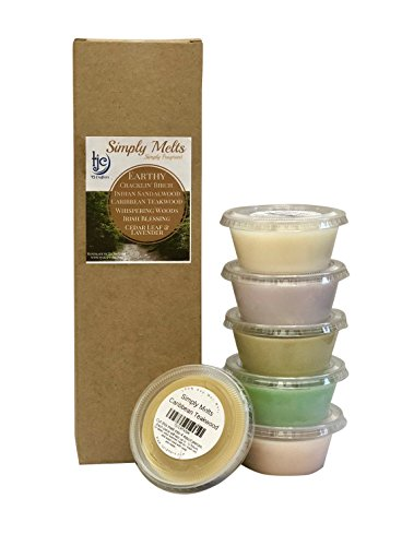 Scented Wax Melts Variety Pack - Hand Poured Natural Soy Wax Melt Cups, 6 Resealable Cups (2.2 Ounces Each, 13.2 Ounces Total), Up To 40 Hours of Scent Throw Per Quarter Cup (Earthy)