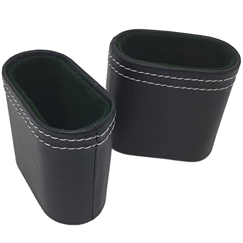 Hand-Made Dice Cups [Set of 2] with Faux Leather Exterior and Green Felt Inside | Narrow Shape Makes It Fit Inside Many Board Games Such As Backgammon ()