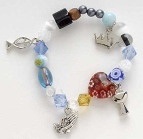 Communion Story Colored Glass Beaded Girl's Stretch Fashion Bracelet in Giftbox