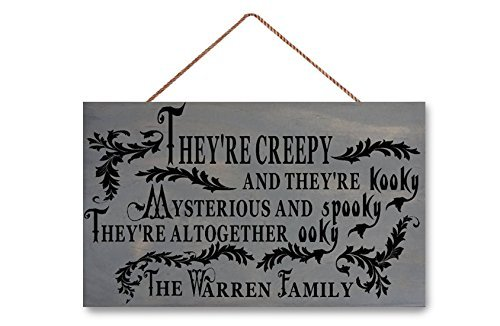 Wood Sign Halloween Sign, They're Creepy Spooky Halloween Decorations, Personalized Family, The Addams Adams Family Sign, 7.25 x 12 Inches. (Wood Halloween Decorations)