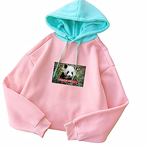 ZJSWCP Sweatshirt Panda Print Women Hoodies Sweatshirt Winter Autumn Thicken Harajuku Casual Kawaii Patchwork Sudadera Mujer