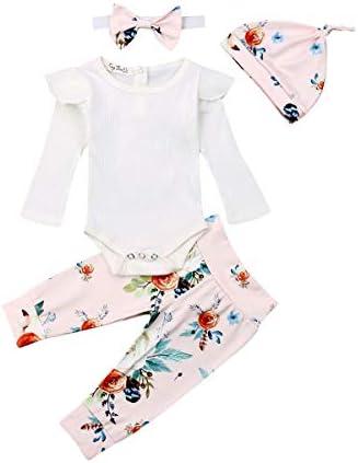 jsadfojas 4 STKS Zuigeling Peuter Baby Meisje Kleding Bloemen Ruche Romper Lange Mouw Bodysuit Halen Broek Hoofdband Outfits