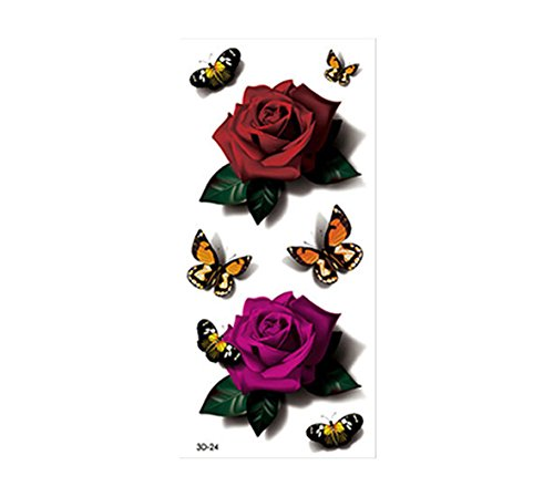 AMAZZANG-10 Pieces 3D Temporary Tattoo Sticker Butterfly Rose Flower Leg Body - Shop And Lena Lisa