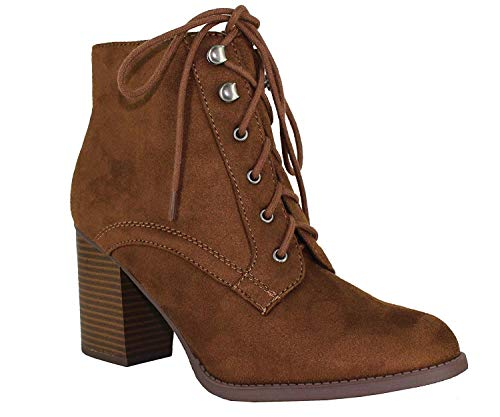 SODA Women's Korman Faux Leather Lace Up High Chunky Heel Ankle Booties,Chestnut, 7 M US