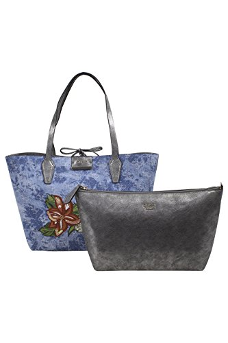 GUESS Women's Bobbi Inside Out Tote Denim Logo/Pewter One Size