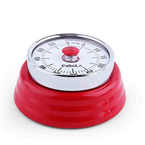 (Rommeka Magnetic Mechanical Timer Round Magnet Mechanical Rotate Countdown Clock Timer 60 Minute Visual Kitchen Countdown Timer With Alarm for Cooking Baking Steaming (red))
