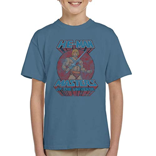 Masters of the Universe Distressed He Man Power Sword Pose Kid's T-Shirt Indigo Blue ()