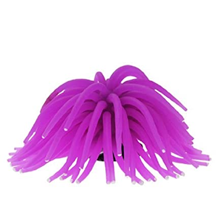 eDealMax silicona acuario anémona de mar ornamento, púrpura