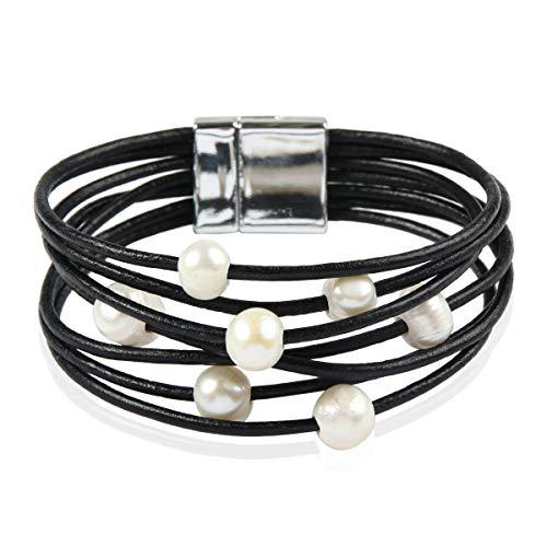Bohemian Faux Suede Leather Wrap Multi Layer Bracelet - Boho Wrist Adjustable Cuff Bangle Crystal Rhinestone/Metallic Bead/Natural Stone/Pearl Embellishment (Leather Wrap Faux Pearl - Black)