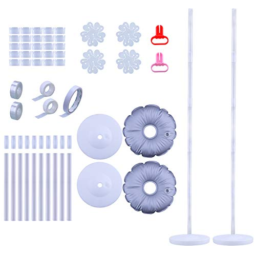 Antner 2 Set Balloon Column Arch Kit Base Stand and Pole 61 inch Height + 2Pcs Base Reinforced Water Bag and 25Pcs Balloon Rings, Party Balloon Tower Decoration for Birthday Wedding Event (2 Balloon Weights)