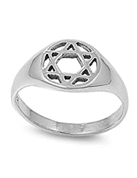 Sterling Silver Women's Jewish Star of David Ring 925 Band 10mm Sizes 4-10