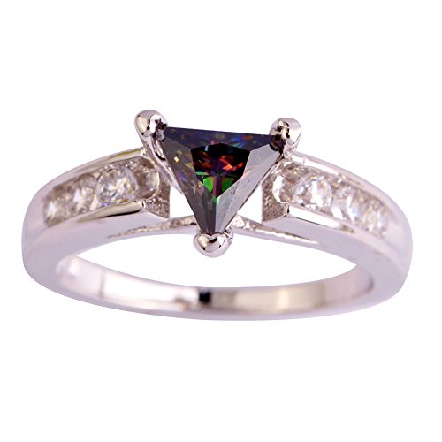 Narica Womens Simple Cute Trillion Cut Rainbow Topaz Cocktail Ring Band