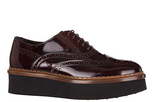 Tod's chaussures à lacets classiques femme en cuir brogue bordeaux