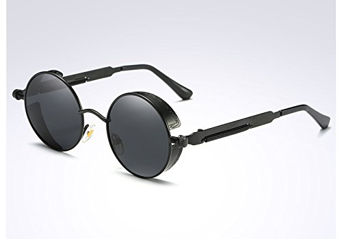 de oro gafas Gafas mujer Vintage Ronda Sunglasses TL de sol black UV400 gray Steampunk las verde 7XHnq