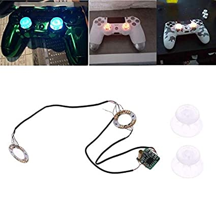 VizGiz Backlit Thumbstick Analog Thumb Stick Joystick Cap DIY Mod Set  Button Led Light Up Clear Transparent Caps Thumbsticks for Sony PS4  Controller