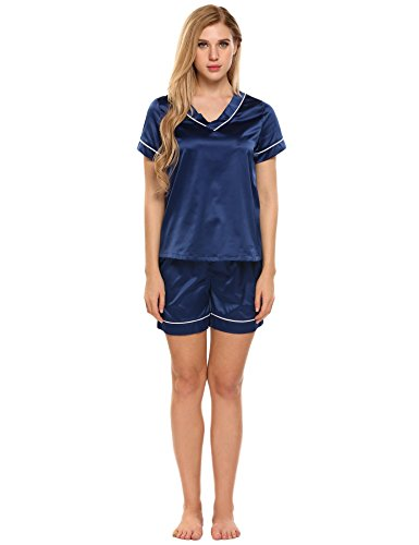 Classic Womens Pajama Set (Ekouaer Womens Satin Pajama Set Classic Piping PJS Shorts Lounge Sleepwear (93-Dark Blue, XXL))