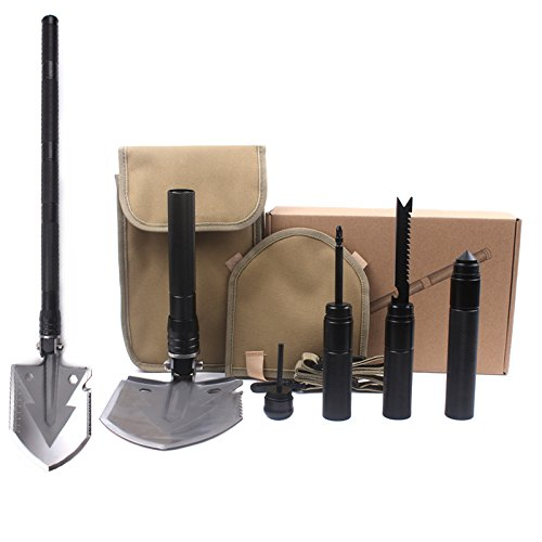 Ontrip Military Portable Folding Shovels Mini Traveling Tactical Spade for Camping, Hiking,Fishing,Tactical Army Surplus Multi Tool Hunting, Backpacking, Trench Entrenching Tool, Car Emergency
