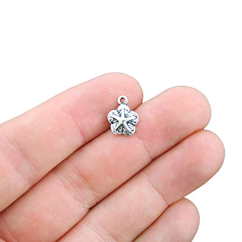 (12 Starfish Charms Antique Silver Tone Small Size - SC4338)