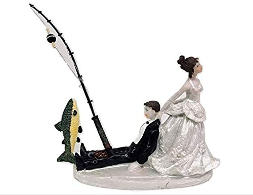 Wedding Comical Bride Pulling Groom Holding Fishing Rod Cake Top Decoration