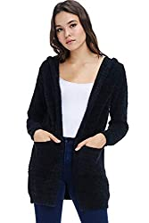 A D Sweaters For Women ?��soft And Warm Cardigan Sweaters With Hoodie Open Front With Side Pockets A Cute Fit Black