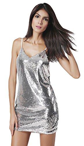 La Vogue Robe Mini Paillette Argent Dos Nu Bretelle Sans Manche Clubwear Femme