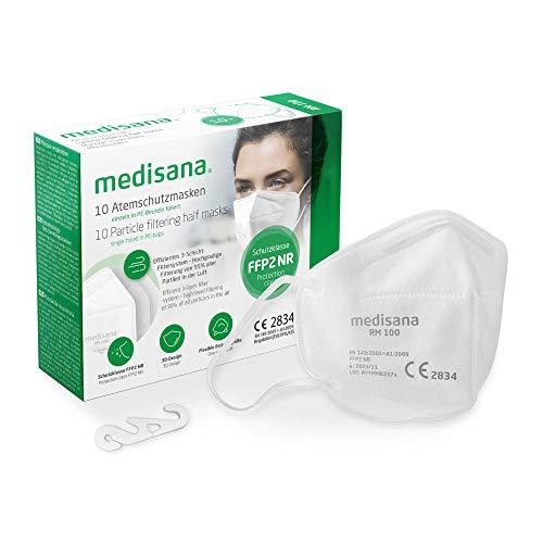 medisana FFP2 Máscara de protección, RM 100, máscara respiratoria, contra el polvo, 10 piezas empaquetadas individualmente en bolsa de PE con clip - certificado CE2834 - UE 2016/425 a buen precio