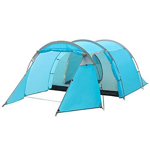 Qisan Large Dome Tunnel Tent 3-4 Person Camping Tent Double Layer 3-Door Opening Screened Front Blue Waterproof Tent with Portable Pack 4 Season for Hiking Travel or Beach