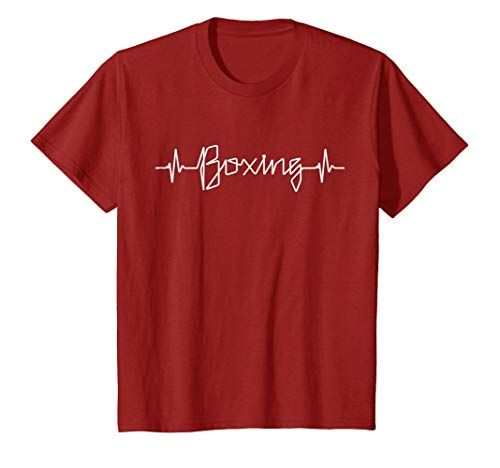 Kids Boxing Heartbeat Tee Pulse Line EKG Monitor Boxing T Shirt 10 Cranberry