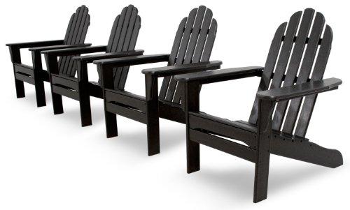 Ivy Terrace IVS101-1-BL Classics 4-Piece Adirondack Set, Black (Polywood Seat 4)