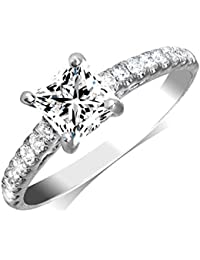 0.88cttw Princess Cut Diamond 18K White Gold Engagement Ring (Center Diamond GIA Cerftified 0.57-Carat, E-F Color, and I1-I2 Clarity)