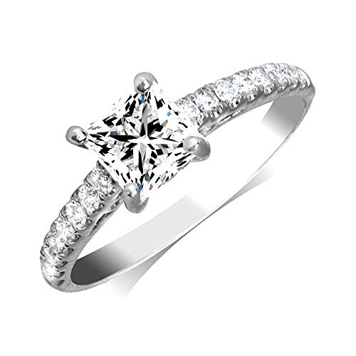 (Manda Collection 0.88cttw Princess Cut Diamond 18K White Gold Engagement Ring (Center Diamond GIA Cerftified 0.57-Carat, E-F Color, and I1-I2 Clarity))