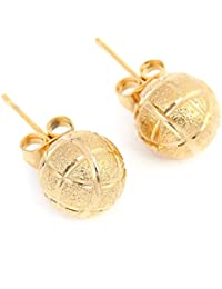 Football Stud Earrings 24K Gold Plated Earring Basketball Jewelry