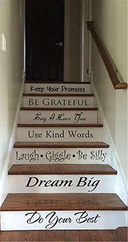 (Lettering Words Wall Mural DIY Removable Sticker Decoration Keep Your Promises be Grateful Dream Big do Your Best for Stair)