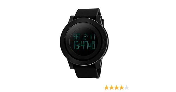 Reloj de Hombre Digital Electrónico a Prueba de Agua LED Reloj Casual Quartz Multifunción 12H / 24H Tiempo. Luz Trasera con Diseño Simple 50M ...